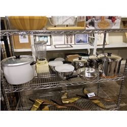 SHELF LOT OF KITCHEN ITEMS; SET OF REVERE WARE POTS AND BOWLS, OSTER BLENDER AND LARGE RICE COOKER