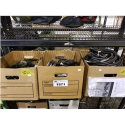 SHELF LOT OF ASSORTED POWER CORDS, LIGHT BOX AND MORE