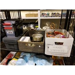SHELF LOT OF ASSORTED SMALL PLASTIC TOTES, HOME DECOR HAND WARMERS AND MORE