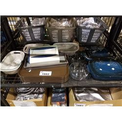 SHELF LOT OF ASSORTED CASSEROLE DISHES, BOWLS, TRAYS AND MORE