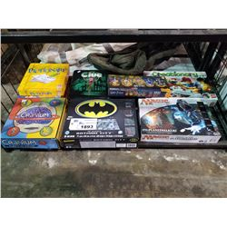SHELF LOT OF BOARD GAMES; CRANIUM, MAGIC THE GATHERING, CREATIONARY AND MORE