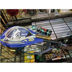 4 ASSORTED TENNIS RACKETS AND BALLS