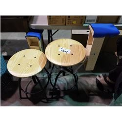 2 WOOD AND METAL STOOLS MODIFIED FOR PROPS