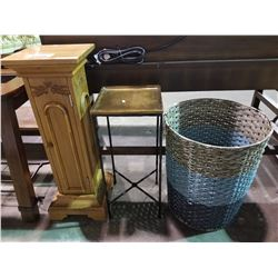 LAUNDRY HAMPER, WOOD PEDESTAL WITH DOOR AND METAL PLANT STAND