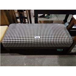 WOOD AND TWEED CUSHIONED BENCH