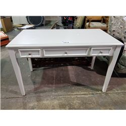 WHITE 3 DRAWER DESK WITH PULL OUT SIDES