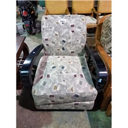 PATTERNED ACCENT CHAIR WITH WOOD ARMS