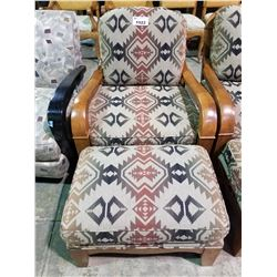 PATTERNED ACCENT CHAIR WITH WOOD ARMS AND OTTOMAN