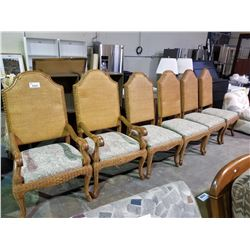 6 DINING CHAIRS, WOOD WICKER AND CUSHIONED