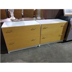 MATCHING WHITE AND WOOD LOOK 2 DRAWER FILE CABINETS