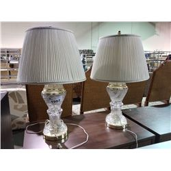 PAIR OF MATCHING GLASS LAMPS