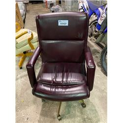 BURGUNDY LEATHER ROLLING OFFICE CHAIR
