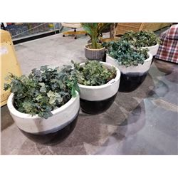 4 LARGE PLANTERS WITH FAUX PLANTS