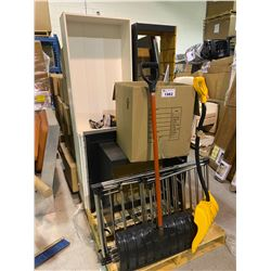 PALLET OF CLOTHING RACK, SHOVELS, BOOKCASE AND MORE