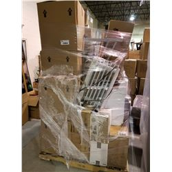 PALLET LOT OF STORAGE LOCKER GOODS; DRYER, SMALL DESK, RADIATOR, 2 SMALL TVS, BOXES OF VHS AND