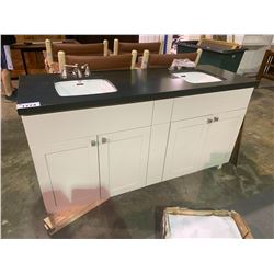 WHITE AND CHARCOAL DOUBLE SINK VANITY WITH DOUBLE DOORS, AND BRUSHED NICKEL FAUCET FIXTURES