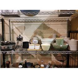 BREVILLE NO-MESS WAFFLE MAKER, JARS, BOWLS & ASSORTED GLASSWARE