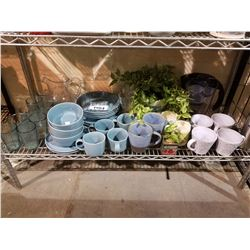 GLASSES, MUGS, PLATES, FAUX PLANT, WATER CANISTER, ETC