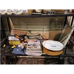 CLOTHS, THROW PILLOW, MAGAZINES, LAZY SUSAN, PLACE MATS, TRAYS, NIKE CLEATS SIZE 1.5Y, PICTURE