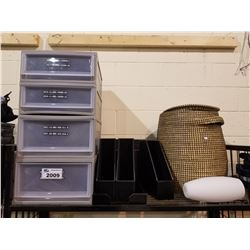 4-DRAWER ORGANIZER, LARGE BASKET & ASSORTED ORGANIZERS