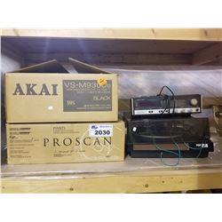 PROSCAN PSVR73 4-HEAD HIFI STEREO, AKAI VS-M930YB VIDEO CASSETTE RECORDER, BSR MCDONALD TURN TABLE,