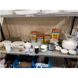 JARS, CONTAINERS, CUPS, MUGS, ASSORTED GLASSWARE & MISC (SET DEC)