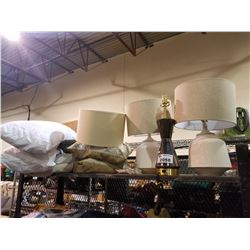 3 LAMPS, THROW PILLOWS & STANDARD QUEEN SIZE PILLOWS