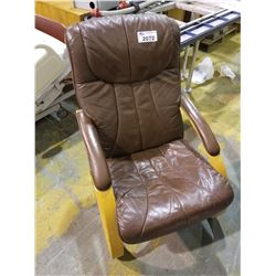 BROWN LEATHER/WOOD CHAIR
