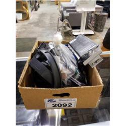 BOX OF ASSORTED HEADPHONES & ELECTRONICS