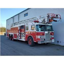 1991 PIERCE LADDER TRUCK, RED, DIESEL, AUTOMATIC, VIN#4P1CT01G8MA900605, 77,965 MILES, 4 ICBC