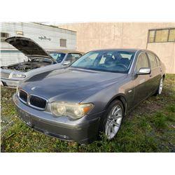 2003 BMW 745LI, GREY, 4DRSD, GAS, AUTOMATIC, VIN #WBAGN63493DS43995, 171,949KMS,