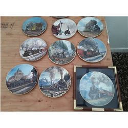 121 - Lot of Collector Plates Trains with stands