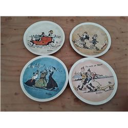"""126 - Set of 4 Norman rockwell plates """"Rockwell on Tour"""""""