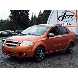 J3 --  2007 CHEVROLET AVEO LT , Orange , 181113  KM's
