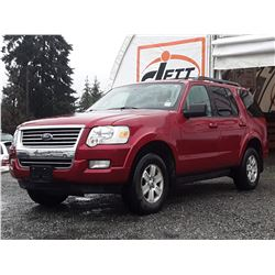 K5 --  2010 FORD EXPLORER XLT , Red , 181,534 MILES