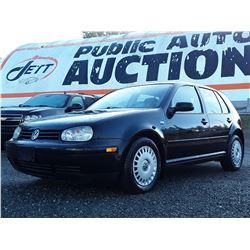 """A2 --  2003 VW GOLF CL  , Black , 159212  KM's """"NO RESERVE"""""""