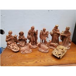 188-Large Collection of Clay Nativity Scene Figureines