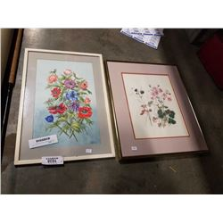 2 SIGNED FRAMED FLORAL PAINTINGS
