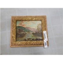 ANTIQUE  12 X 13.5 INCH GILT FRAMED OIL PAINTING ON BOARD