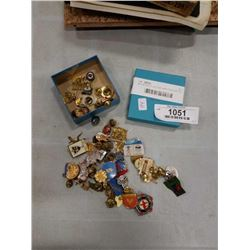 BOX W/ 50 COLLECTOR LAPEL PINS AND TIE TACK