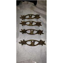 SET OF 4 ANTIQUE BRASS DRESSER HANDLES 3-1/2 CENTER