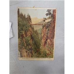 EARLY VANCOUVER FULL COLORED POSTCARD OF SUSPENSION BRIDGE W/ STAMP AND POSTAGE DUE STAMP