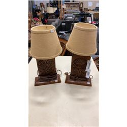 PAIR OF HIGHLY CARVED MCM TEAK TABLE LAMPS