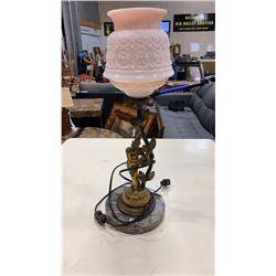 ART NOUVEAU STYLE MARBLE BASED FIGURAL TABLE LAMP
