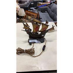 "ANTIQUE PAINTED IRON ""CRUSADERS"" SAILING SHIP TABLE LAMP W/ ORIGINAL CORD"
