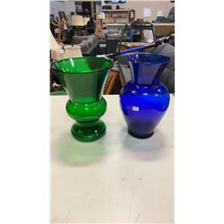ANTIQUE 11 INCH COBALT BLUE VASE AND ANTIQUE 10 INCH FOREST GREEN VASE