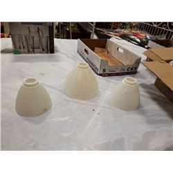 3 MILK GLASS TORCHIERE LAMP SHADES
