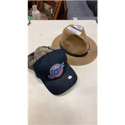 NEW AUSTRALIAN OUTBACK EDITION MENS SIZE LARGE HAT AND CAMO BALLCAP, AND NEW UTAH JAZZ CAP