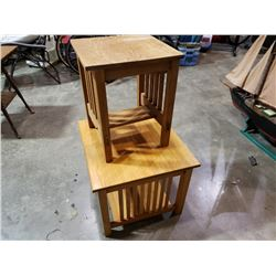 2 MISSION OAK STYLE END TABLES
