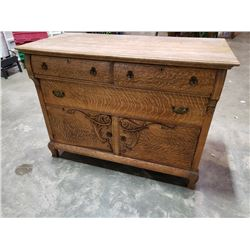 ANTIQUE QUARTERSAWN OAK SIDEBOARD WITH CARVED OVERLAY ORIGINAL PULLS